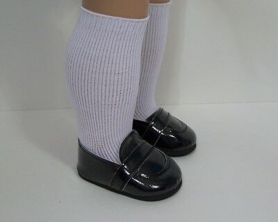 """BLACK Patent Penny Loafers Doll Shoes For 18"""" American Girl Boy Logan (Debs)"""