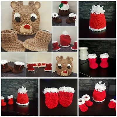 *New Crochet Christmas Santa Baby Hat And Booties Or Hat only newborn to 3 years