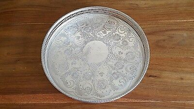 An ENGLISH Silverplated Round Gallery Tray Beautiful Design 31cms x 3cms VC