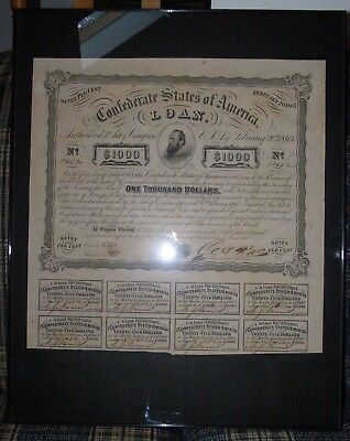 Confederate 1863 $1000 Stonewall Jackson Bond With 8 Coupons Still Attached