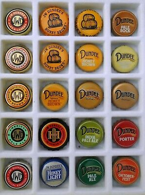 20 Different J W Dundee beer caps/crowns