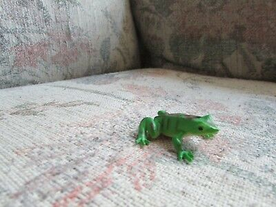 """Small Green Plastic Frog with Spots, approx 1 1/2"""" big"""