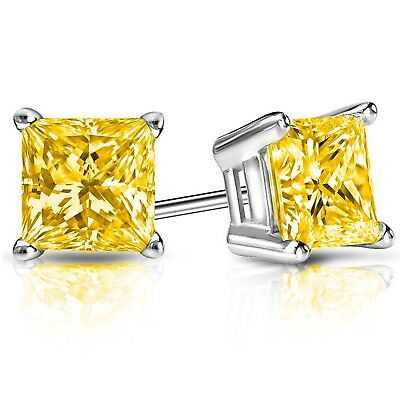 4 Ct Princess Canary Earrings Studs Cut Screw Back Basket Solid 14K White Gold