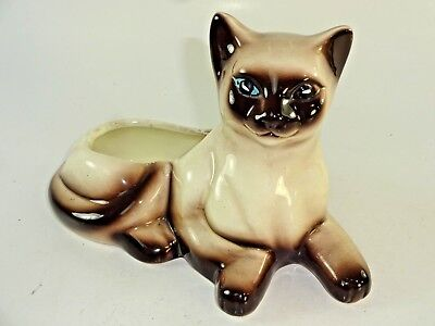 "VTG 7.5"" Siamese Kitty Cat Ceramic Planter Rubens Originals #9409 w/ Sticker"