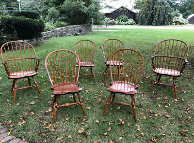 Vintage  6 hickory pine early American country Windsor chairs Jason Samuel c1980