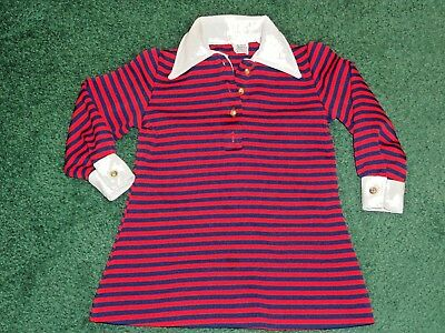 Vintage 60s 70s Sears Perma-Prest Kids Long Sleeve Red Blue Striped Collar Shirt