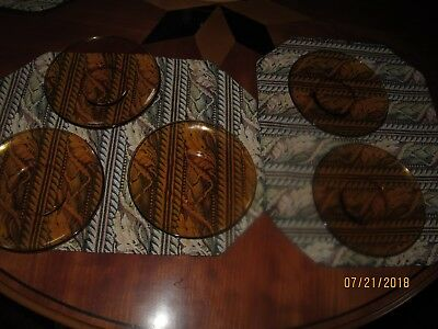 DURALEX Amber 5 plates for serving cake size 61/4 in (16 cm) !!