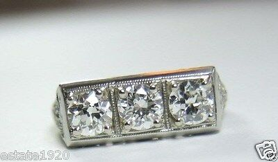 Antique Art Deco Vintage Diamond Engagement 18K White Gold Rg Sz 4.75 EGL USA