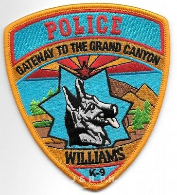 "*NEW*  Williams  K-9 Unit, Arizona (4"" x 4.5"" size) shoulder police patch (fire)"