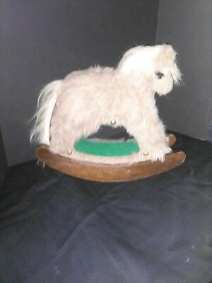 Folk Art FARM MUSICAL Wood Rocking Horse Palamino Pony BANK Faux Fur 1 OF A KIND