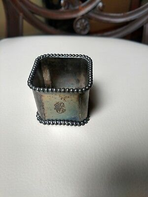 Victorian Antique Beaded Silverplate Napkin Ring Holder (8-sided), Monogrammed