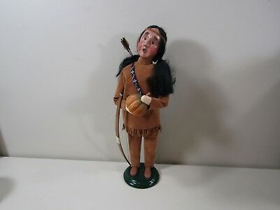 2003 Byers Choice Native American Indian Caroler w/ Bow & Arrow Holding Pumpkin