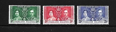 Hick Girl Stamp- Mnh. Falkland Islands  Sc#81-83  Coronation Issue 1937  X433