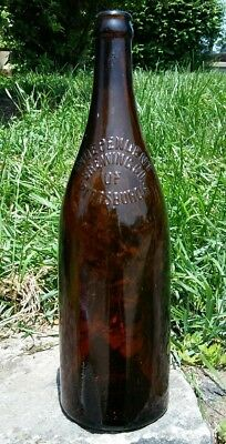 Vintage Beer Bottle: Independent Brewing Co. Pittsburgh, Large Amber Brown Glass