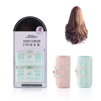 2Pcs Salon Spring Clips Tool Plastic Bang Hair Rollers Large Size Hair Curler