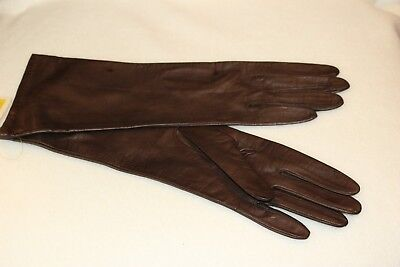 Vintage Ladies Brown Leather Gloves, size 8.  Made in Italy, sold at Macy's.