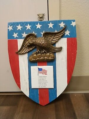 Antique Folk Art Hand Carved Wood American Eagle Sign Flag Plaque Peace Vtg