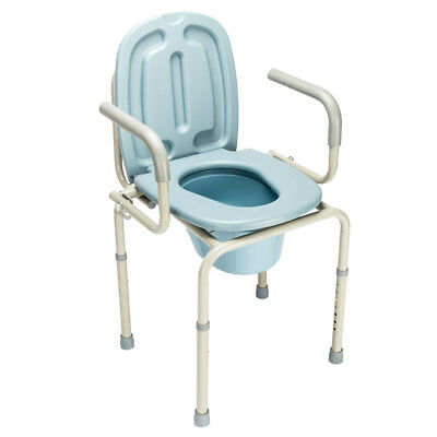 Heavy Duty Premium Medical Commode Bedside Folding Up With Lid Height Adjustable