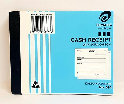 20 Pack Olympic #614 Duplicate Cash Receipt Book – AO140883