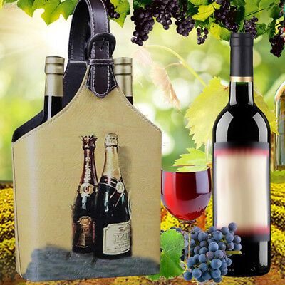 F5AF Vintage Looking Wine Box Storage Holder For 2Bottles Carrier Bag With Handl