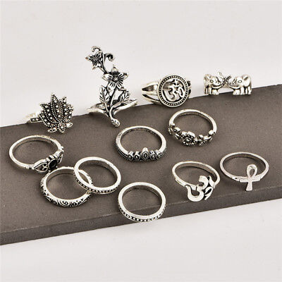 Ancient Silver Bohemian Female Rose Elephant Cross Joint Ring Set New Popular DM