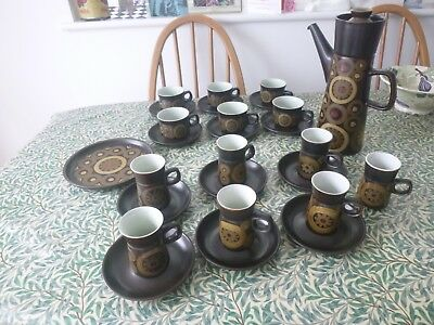Denby Pottery Arabesque - Coffee Pot 6  Tea &  6 Coffee Cups & Saucers + Plate