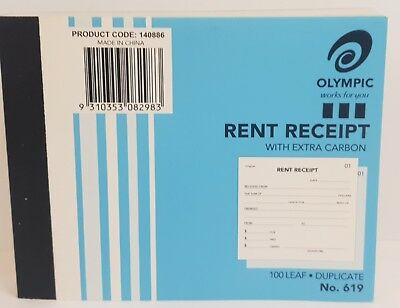 10 Pack Olympic #619 Duplicate Rent Receipt Book – AO140886