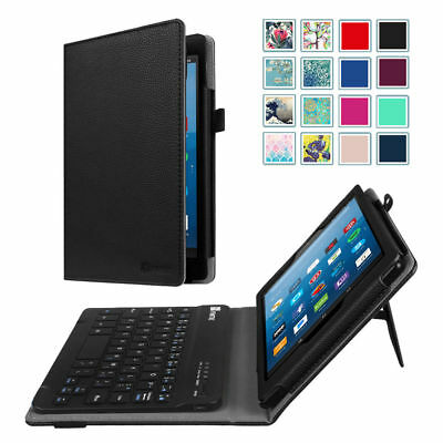 For All-New Amazon Fire HD 8 8th 2018 Folio Case Cover Stand +Bluetooth Keyboard