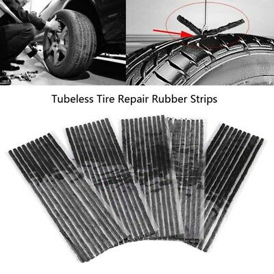 10Pcs Car Bike Self Vulcanizing Tire Tyre Repair Plug Tubeless Seal Patch Strip