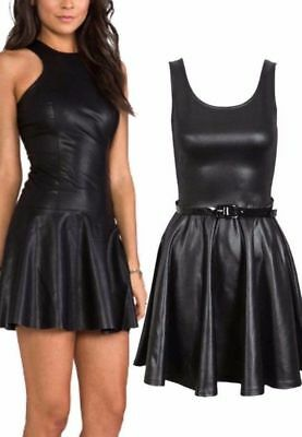 PVC Wet Look Plus Belted Flared Celebrity Sexy New Ladies Skater Dress TOP 8-26