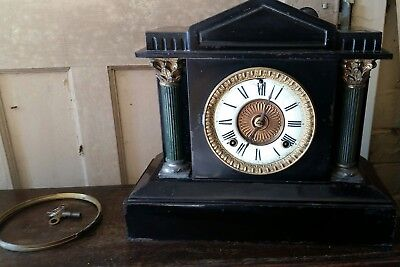 Antique American Ansonia mantle clock black Iron working 1800s with key.