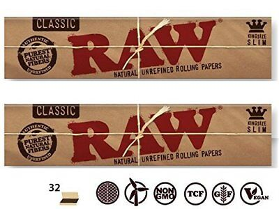 Raw Classic King Size Slim Natural Unrefined Rolling Paper 2 PACKS! USA SHIPPER