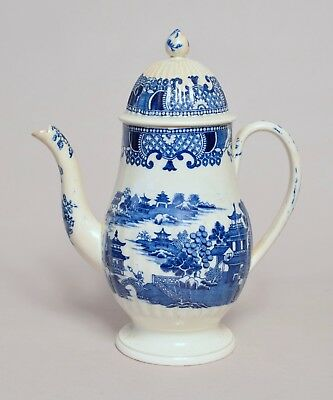 Large Antique English Transfer Printed Pearlware Coffee Pot In Good Cond.