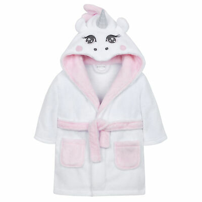 Baby Girls Unicorn Dressing Gown Robe Fluffy Hooded Bath Soft PJ Newborn Novelty