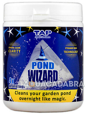 TAP POND WIZARD BOMB 500g 4 x PYRAMID BAGS CRYSTAL CLEAR CLEAN WATER BACTERIA
