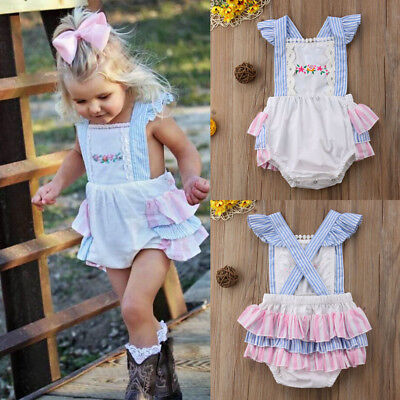 Cute Toddler Baby Girl Tutu Romper Bodysuit Sunsuit Summer Kids Outfit One Piece