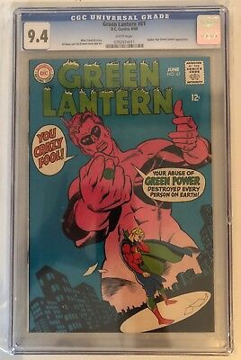Green Lantern #61 - Cgc 9.4 - Golden Age Gl Appearance - White Pages