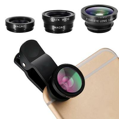 3 in 1 Universal Fisheye Fish Eye Wide Angle Macro Clip Lens Set For iPhone iPad