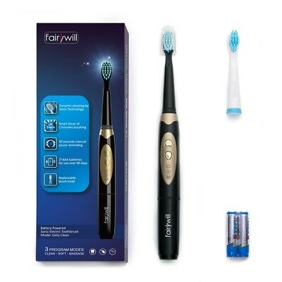 Fairywill Sonic Battery Powered Electric Toothbrush Heads 3 Modes Timer Black
