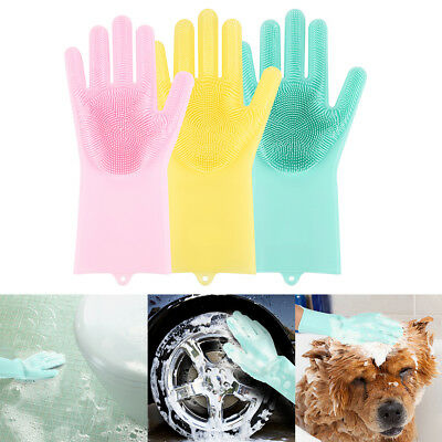 1 Pair Magic Silicone Cleaning Brush Scrubber Gloves Rubber Heat Resistant RT
