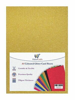 A4 Gold Glitter Card Fixed Sparkle Card Thick 250gsm Laser Printed - Non Shed