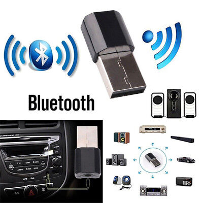 Wireless USB Bluetooth AUX Audio Music Home Car Receiver Adapter + 3.5mm Jack
