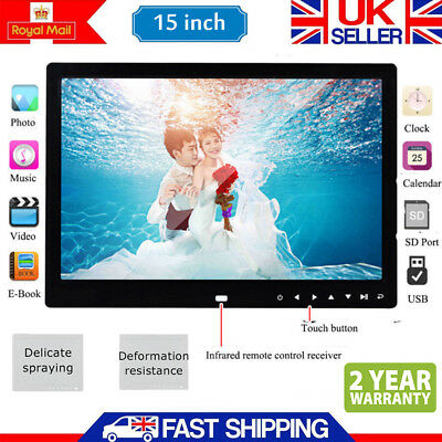 "15"" inch Digital Photo Frame Metal Frame LED Picture Video Player Black +Remote"