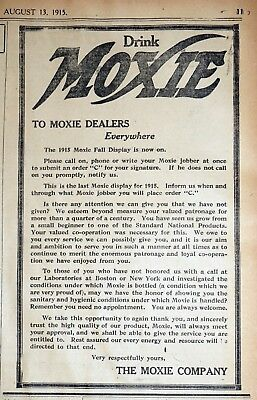 Moxie Open Letter To Dealers - 1915 Massachusetts Newspaper Page