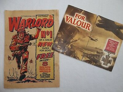 Warlord Comic Issue # 1 First Issue September 28th 1974 + Medal Card Free Gift