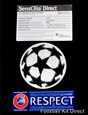 Official Uefa Champions League Starball + Respect Football Shirt Patch/Badge
