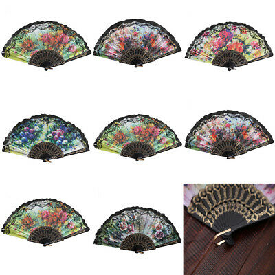 Vintage Chinese Style Lace Hand Held Folding Fan Dance Party Wedding Decor Hot