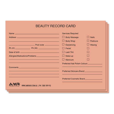 Salon Client Cards Beauty 100pk
