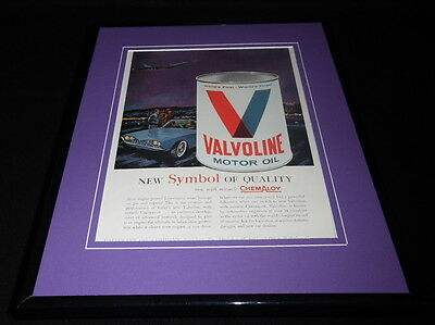1962 Valvoline Oil Framed 11x14 ORIGINAL Vintage Advertisement