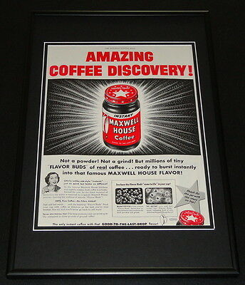 1953 Maxwell House Coffee Framed ORIGINAL 12x18 Vintage Advertisement Display